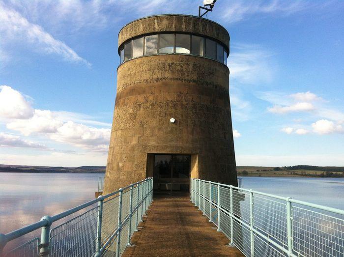 Derwent reservoir water tower Northumberland Manmade Landscape Blue Sky White Clouds Tourism Fishing Walking