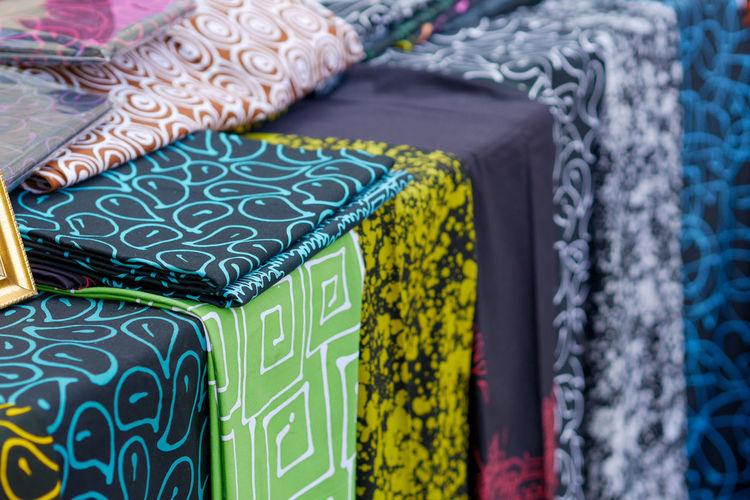 Full frame shot of multi colored textile for sale at market