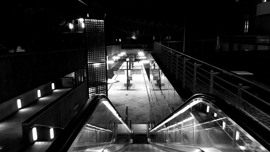Contrast Outdoors EyeEmNewHere No People Mode Of Transport Built Structure Architecture Bnw_of_our_world Bwoftheday Kunst Black And White Photography Bnw_captures Blackandwhite Transportation Art Last Stop Night City Station Streetphotography Railing Indoors  Architecture Lifestyles Water
