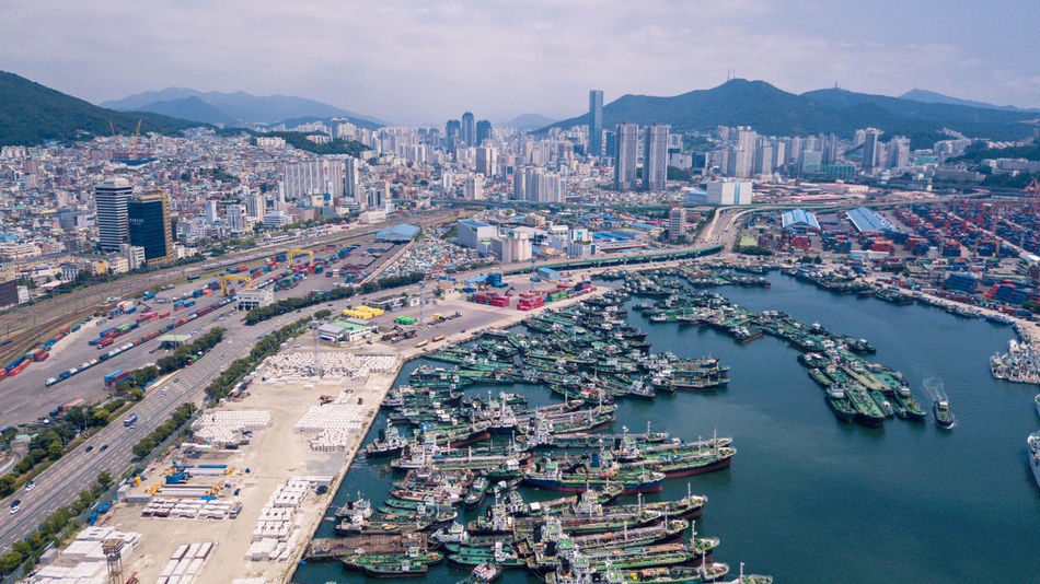 Aerial view of Busan port, South Korea. Architecture Busan,Korea Cargo Ship Container EyeEm Best Shots EyeEmNewHere Logistics View Aerial View Building Busan Cargo Cargo Container Commercial Container Terminal Export Export Industry Import Landmark Landscape Port Ship Shipping  Tug Tug Boat