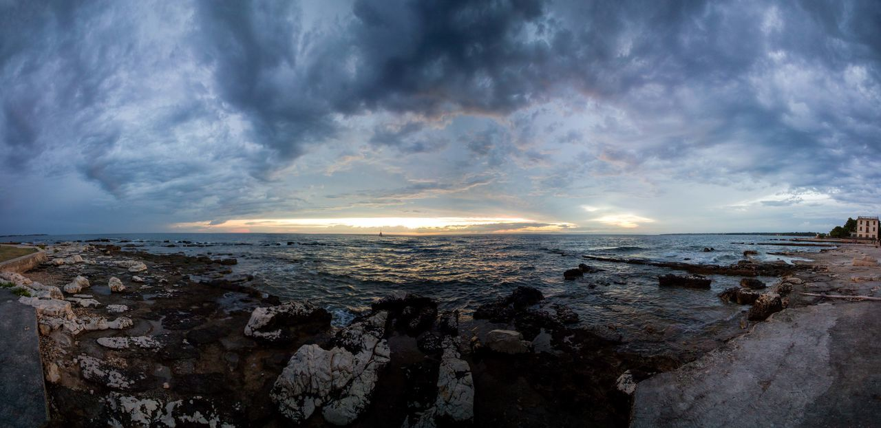 sky, cloud - sky, sea, water, scenics - nature, beauty in nature, beach, horizon, tranquil scene, land, horizon over water, tranquility, nature, no people, sunset, rock, non-urban scene, outdoors, pollution