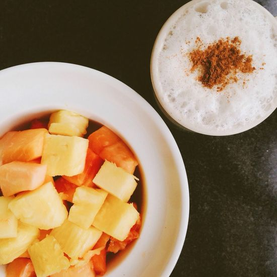 Back in Panama City - A healthy way to start the day Fruits Almondmilk Cappuccino The EyeEm Breakfast Club