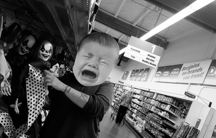 Portrait Looking At Camera Leisure Activity Indoors  Headshot Enjoyment Young Adult Halloween Weenie  Crying Scared Clowns Creepy Week On Eyeem Frightening Eerie People In Places Monochrome Photography Welcome To Black