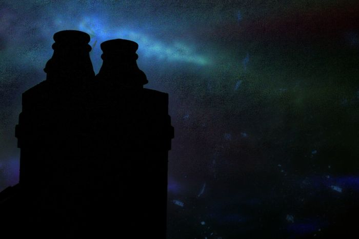 Chimney Pots Silhouette People Night Sky One Man Only Outdoors Outline