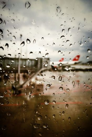 Raindrops From My Window At The Airport As The Rain Falls
