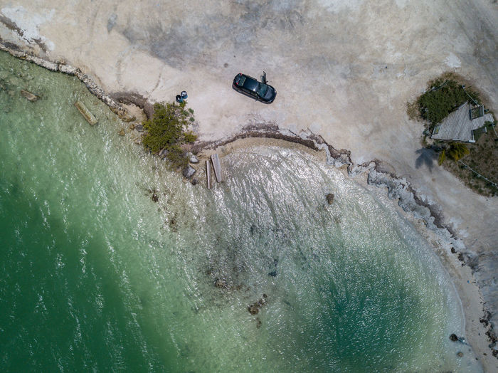 Aerial view of car at beach