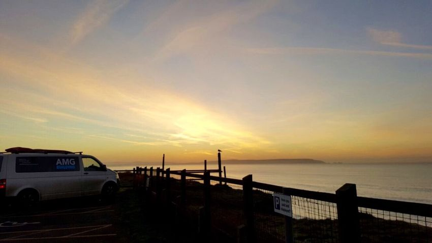 Sunrise over The IOW. Sea Sky Transporter Cliff Sunrise Beauty In Nature