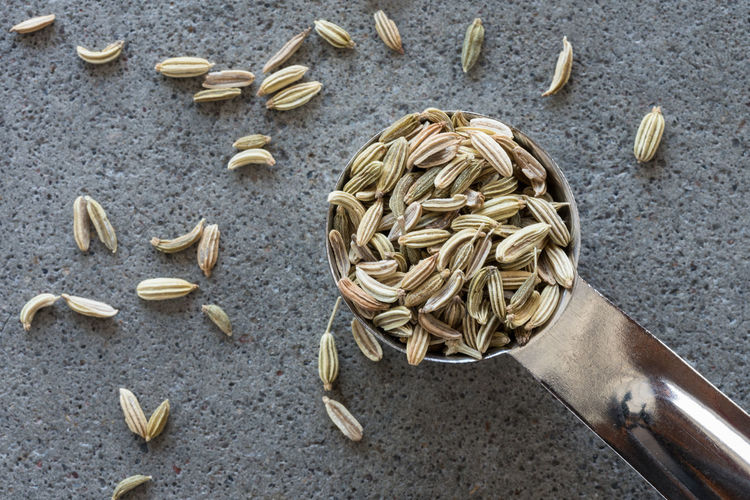 High Angle View Of Fennel In Teaspoon