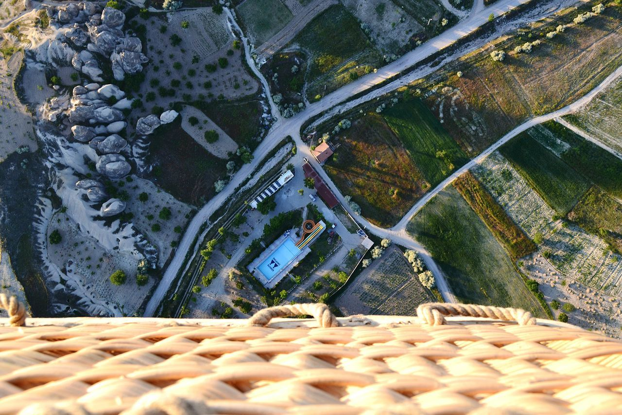 Directly above shot of landscape seen from hot air balloon