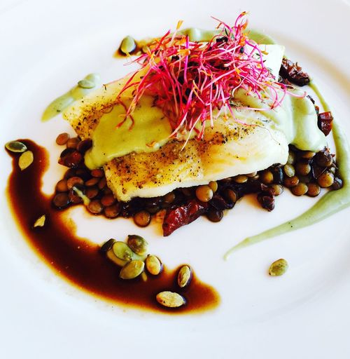 Close-up Composition Fish Food Healthy Eating Healthy Lifestyle Lentils Meal Organic Plate Preparation  Ready-to-eat Serving Size