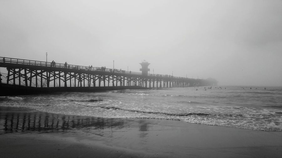 Enjoying The View Walking Around Relaxing Atmospheric Mood Sky And Palm Tree Sky_collection Foggy Day Fog_collection Seal Beach, California Natural Beauty Pier Mood Black & White Atmospheric Mood Enjoying Life Natural Beauty