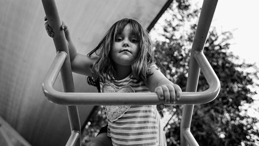 Portrait Of Girl On Jungle Gym