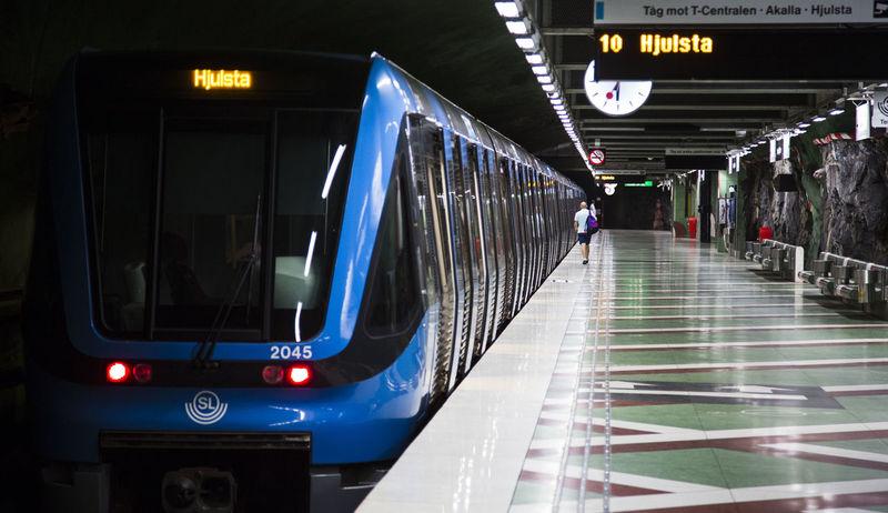 2015 Stockholm, Sweden Communication Illuminated Indoors  No People People Platfrom Public Transportation Stockholm Subway Subway Station Text Train Transportation Tunnelbana