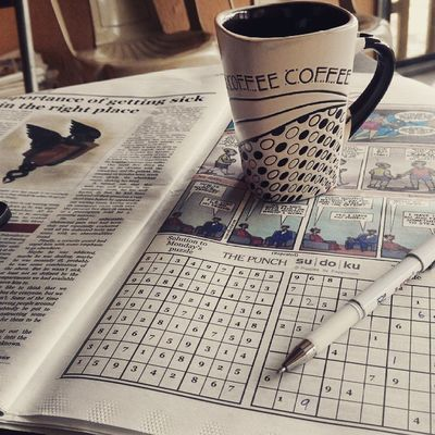 I really don't mind starting my Thursday Mornings like this, with a cup of Greentea and a Game of Sudoku