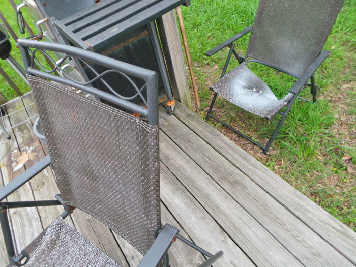 Absence Broken Broken Deck Broken Deck Chair Close-up Corner Of Yard Day De Elevated View Empty Front Or Back Yard Furniture Grass Nature No People Outdoor Grilling Outdoors Plant Seat Wood - Material Wooden