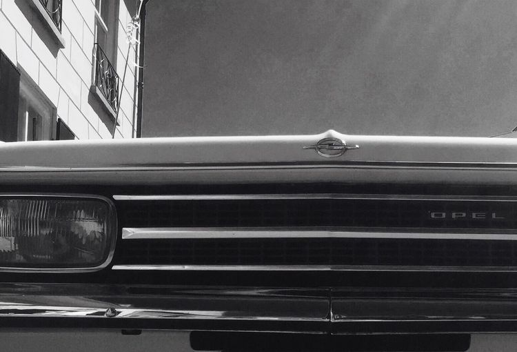 EyeEm Selects Opel Rekord Opel Transportation Mode Of Transport Car Land Vehicle Architecture Close-up Low Angle View No People Oldtimer Blackandwhite Bluesky