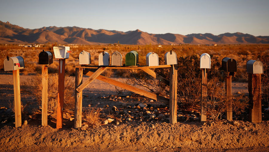 View of mailboxes in the desert