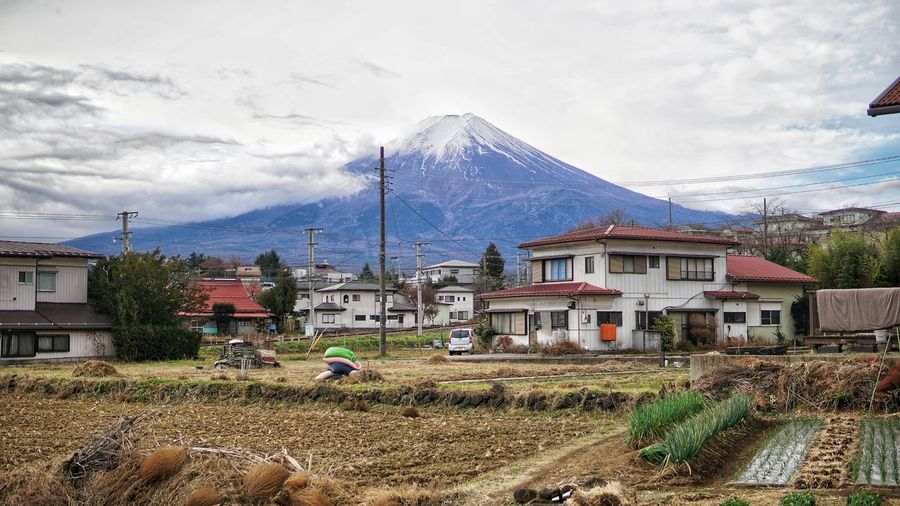 Fuji Mountain Rice Field No People No Person Day Mountain House Sky Architecture Building Exterior Mountain Range Built Structure Cloud - Sky Snowcapped Mountain Snow Covered Snowcapped Snow Covering Cold Temperature Residential Structure Settlement Cold