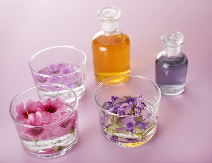 High angle view of essential oils on table