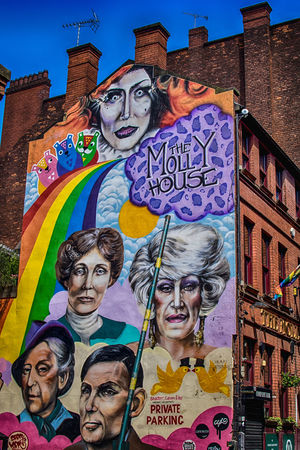 Some people put up barriers not to keep you out, but to see who cares enough to break them down. Multi Colored Arts Culture And Entertainment No People Outdoors HDR City City Life Manchester Manchester UK England, UK United Kingdom Gay Village Europe Architecture Architecture_collection Street Photography Streetart Urban Photography Urban Exploration Art Is Everywhere Blue Sky Rainbow Brickstone Building Brick Building