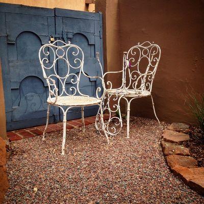 Three Chairs in the Garden Secret Garden Archetype Coexistence Adobe Wall Mystic View Dreaming Happy Haiku