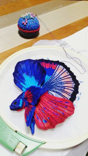 embroidery-betta splendens- Betta  Betta Splendens Bettafish Bettafishcommunity Embroidery Embroiderywork Embroideryart Embroideryartist Multi Colored Watercolor Painting Blue Painted Image