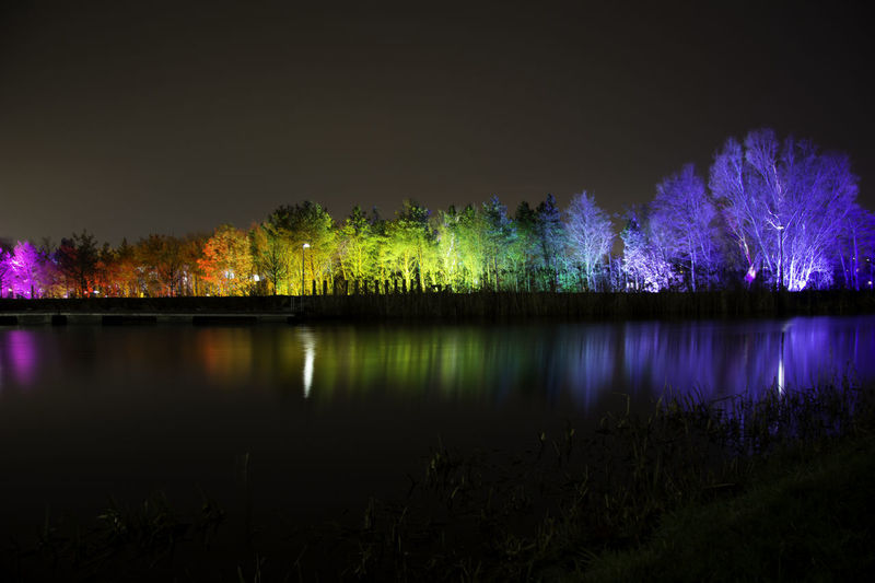fire and light at the helix. Kelpies Of Falkirk Beauty In Nature Helix Illuminated Kelpies  Lake Nature Night No People Outdoors Purple Rainbow Reflection Scenics Sky Tranquil Scene Tranquility Tree Water