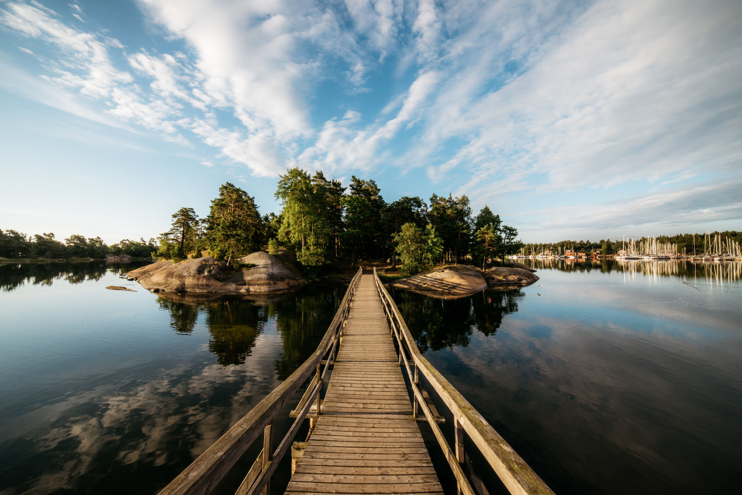 water, sky, tranquility, tranquil scene, direction, tree, cloud - sky, beauty in nature, the way forward, wood - material, nature, scenics - nature, diminishing perspective, reflection, plant, lake, day, no people, pier, outdoors, wood, long