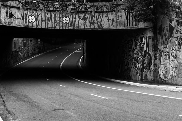 View of road in tunnel