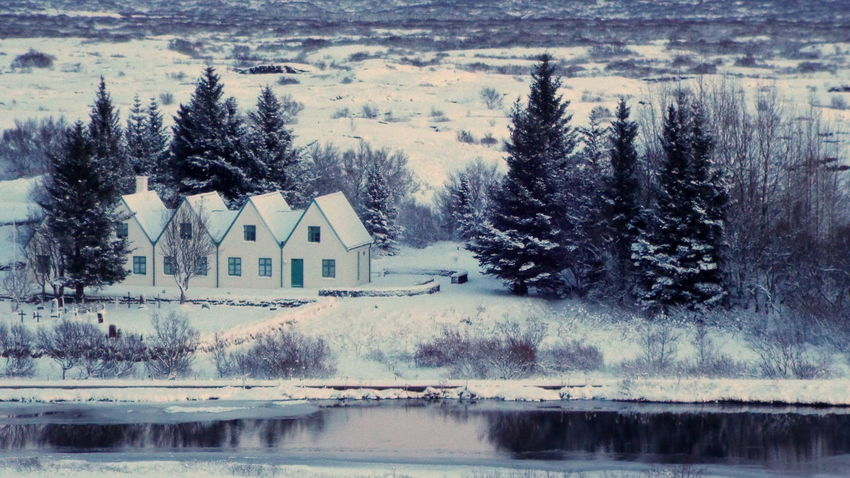 Architecture Beauty In Nature Building Exterior Built Structure Day Golden Circle House Iceland Lake Nature No People Outdoors Pingvellir Scenics Snow Thingvellir Tree Water Winter