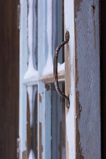 Close-up of rusty metal door