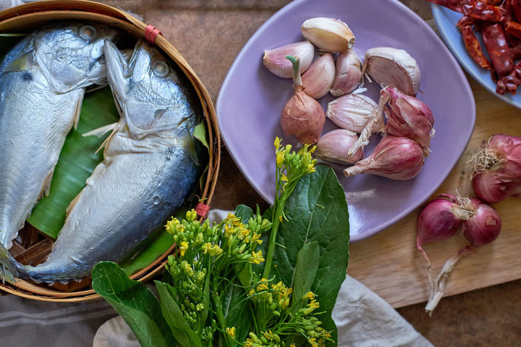 Chili Pepper Cooking Day Fish Food Food Preparation Freshness Galicia Healthy Eating Indoors  Ingredients No People Seafood Shallot Short Mackerel Thai Food Vegetable