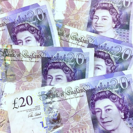 British twenty pound banknotes Paper Currency Finance Business Currency Male Likeness Close-up Savings Investment Real People Day Twenty Pound Note Wealth Crumpled Payment