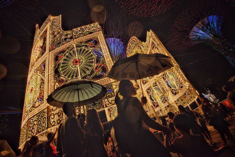 Lights Silouette Umbrella☂☂ Illuminated Decoration Lighting Equipment No People Night Indoors  Close-up Christmas Design Celebration