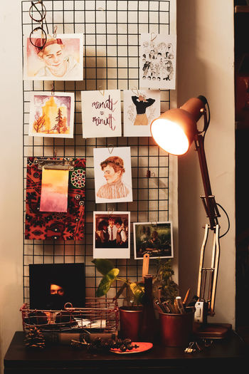 Home Decor - Bedroom / Art Station Bedroom Home Decor Art ArtWork Watercolors  Copper  Photogrid Aesthetic Moody Indoor From Front Stationary Work Workstation Artstation Bedroom Corner Illuminated Lighting Equipment Close-up Filament Floor Lamp Side Table Light Bulb Night Table EyeEmNewHere