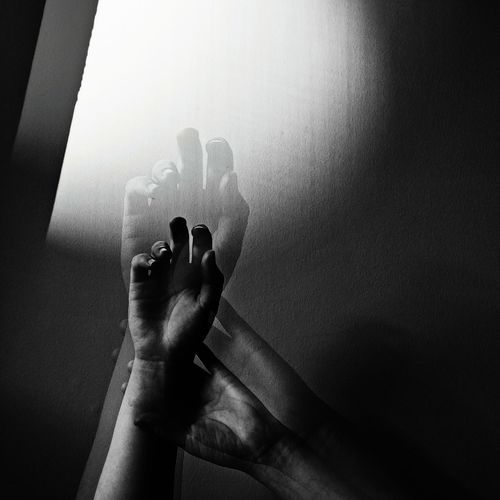 Bw Blackandwhite Photography Double Exposure Hands Close-up Shadows Light And Shadow Human Hand Human Body Part Contrast