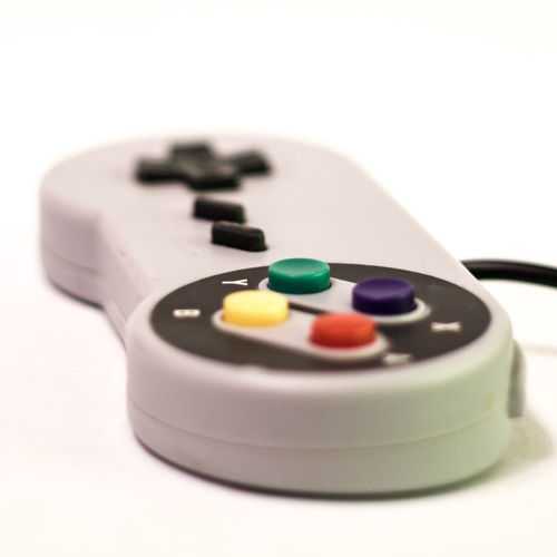 Nintendo Peripherals Super Nintendo Close-up Controller Game Joypad Joystick Pad Product Photography Snes Studio Shot White Background