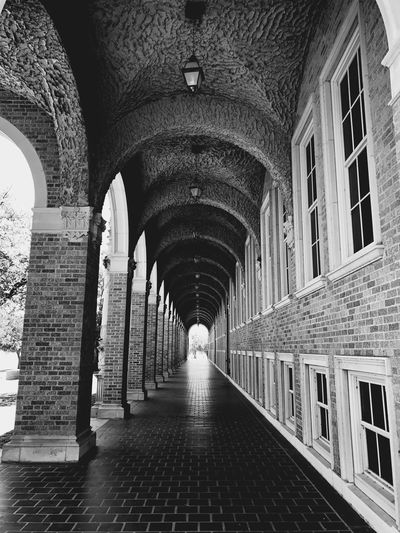 """""""Halls of Education"""" A long breezeway in an historical building at the Texas Tech University campus in Lubbock, Texas. Arch Architecture Texastech University University Campus Education Architecture Architecture_collection Architecturelovers Texas Stonebuilding Historical Building Blackandwhite Black And White Black & White Blackandwhite Photography Black And White Photography"""