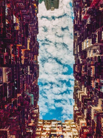 Spot the ✈️ ! Hong Kong Hong Kong City Hong Kong Architecture ShotOnIphone Plane Aircraft Sky Nature No People Architecture Day Building Exterior Built Structure Blue Backgrounds Low Angle View Outdoors Window Building Cloud - Sky Pattern Multi Colored Sunlight Textile Full Frame