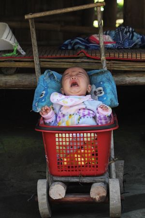 Baby Full Length Innocence Childhood Babyhood Indoors  One Person Real People Portrait Babies Only People Day Crying Shopping Basket Flinstones DIY Buggy Traditional Funny Unusual EyeEm Best Shots Check This Out in Long Neck Village , Thailand MISSIONS: The Portraitist - 2017 EyeEm Awards