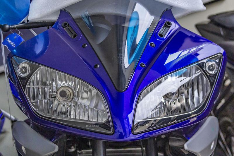 Close-up of blue car