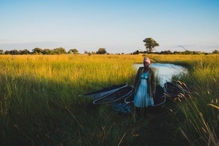 Lady and mokoros Botswana Travel Woman Africa