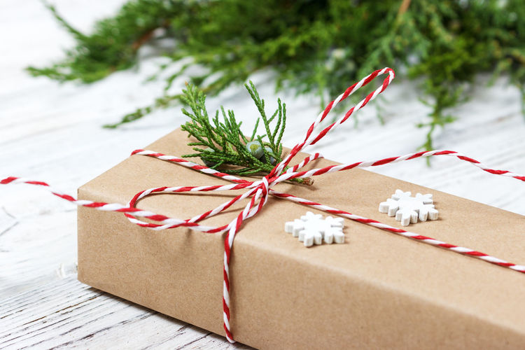 View of christmas decoration in box
