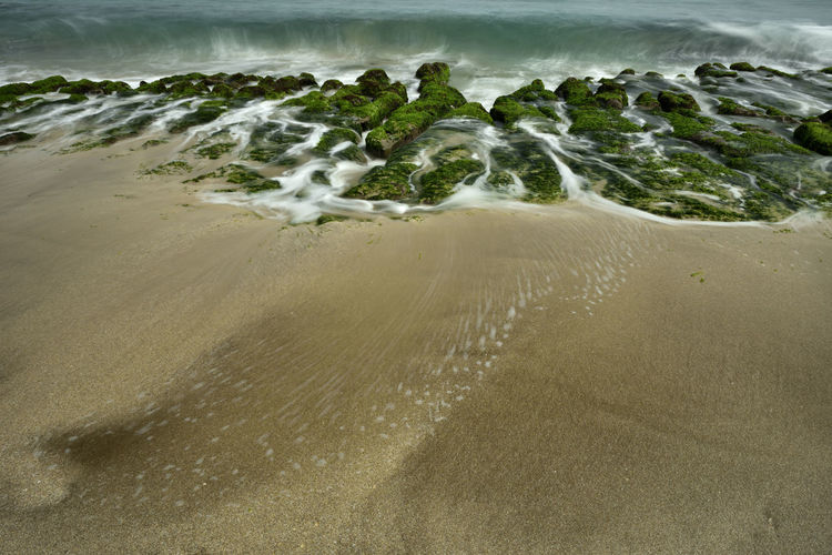 High angle view of water flowing on beach