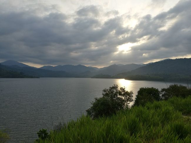 Landscape Scenics Lake Outdoors Beauty In Nature No People Tree Water Grass Mountain Dam Sun Cloud - Sky