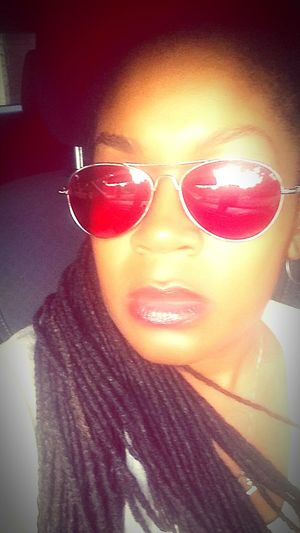 Red shades black woman red lips selfie alone urban car Lifestyles Headshot Transportation Person Young Adult Beauty Portrait Indoors  Mode Of Transport Front View Casual Clothing Enjoying Life People And Places Relaxing