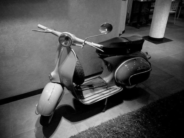 Scooter Mopeds Blackandwhite Vintage