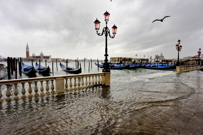 Gondolas moored at grand canal