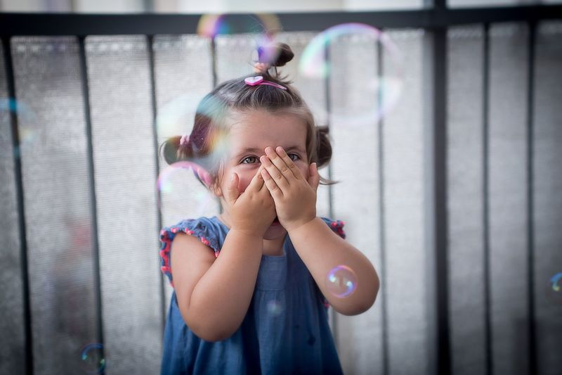 Little girl with soap bubbles Enjoying Life Fun Family Love Girl Little Girl Daughter Soap Bubbles Happy Happiness