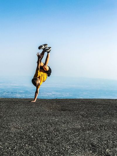 Break dance on the top of the world Freestyle Dance Dancer Etna, Mountain, Sicily, Breakdance Sky Sea Water Horizon Horizon Over Water Nature Sport Scenics - Nature Lifestyles